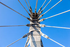Modern cable bridge pylon Royalty Free Stock Image