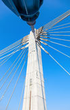 Modern cable bridge pylon Stock Images