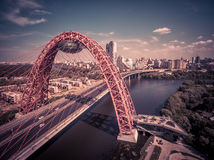 Modern cable-stayed bridge in Moscow. Aerial view of Moscow with modern cable-stayed bridge Royalty Free Stock Photo