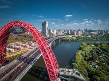 Modern cable-stayed bridge, Moscow. Aerial view of Moscow with modern cable-stayed bridge Stock Photos
