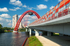Modern cable-stayed bridge in Moscow Stock Photography