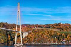 Modern cable-stayed bridge in Norway Stock Images