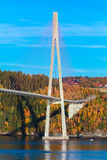 Modern cable-stayed bridge in Norway, vertical Stock Photo
