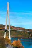 Modern cable-stayed bridge in Norway, vertical Royalty Free Stock Photo