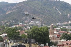 Modern cableway of Tbilisi city in Georgia stock images