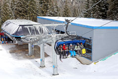 Modern cableway in ski resort Jasna, Slovakia Royalty Free Stock Photos