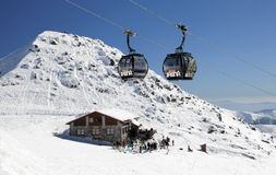 Modern cableway in ski resort Jasna, Slovakia Royalty Free Stock Images