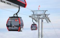 Modern cableway in ski resort Tatranska Lomnica, Slovakia Royalty Free Stock Photography