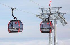 Modern cableway in ski resort Tatranska Lomnica, Slovakia Stock Photos