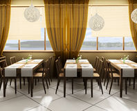 Modern cafe. In defes  3d ( rendering Stock Images