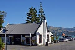 Modern Cafe in Akaroa, New Zealand royalty free stock image
