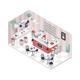 Modern cafe, coffee shop, restaurant interior in isometric style. Colorful illustration, top view. Stock Images