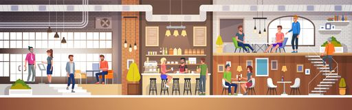 Modern Cafe Interior in loft style. full of People. Restaurant Flat Vector Illustration. Modern Cafe Interior in loft style. full of People. Restaurant Flat Royalty Free Illustration