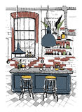 Modern cafe interior in loft style. Hand drawn colorful illustration. Royalty Free Stock Photo