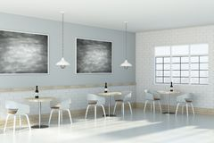 Modern cafe interior. Side view of modern cafe interior with empty chalkboard on wall. Advertising concept. Mock up, 3D Rendering Royalty Free Stock Images