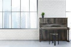 White cafe interior, piano Royalty Free Stock Photos