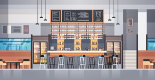 Modern Cafe Or Restaurant Interior With Bar Counter And Bottles Of Alcohol And Glasses On Background Stock Photos