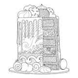 Modern cake for coloring book. Hand drawn doodle cake for coloring book for adults. Zentangle style Royalty Free Stock Images