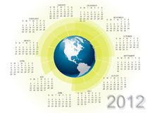 Modern calendar 2012 with globe Royalty Free Illustration