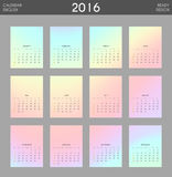 Modern calendar 2016 with colorful hologram in English. Ready for print design. Stylish calendar for 2016. Week starts from Sunday. Template with a calendar vector illustration