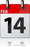 Modern calendar icon. Vector illustration of 14'th february date Stock Photos
