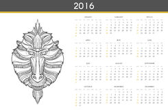Modern calendar 2016 with monkey in English . Ready for print. Modern calendar 2016 with a monkey in English . Ready for print design. Stylish retro calendar for Royalty Free Illustration