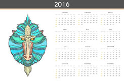Modern calendar 2016 with monkey in English . Ready for print. Modern calendar 2016 with a monkey in English . Ready for print design. Stylish retro calendar for Stock Illustration