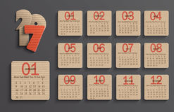 Modern calendar 2017 in a paper official style. Royalty Free Stock Images