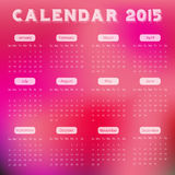 Modern calendar 2015 in red blur background style.Vector/illust ration. Royalty Free Stock Photo