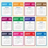 2017 Modern calendar template.  Stock Illustration