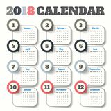 2018 Modern calendar template .Vector/illustration. 2018 Modern calendar template .Vector/illustration Royalty Free Stock Photography