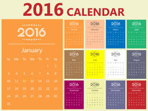2016 Modern calendar template . Vector/illustration Royalty Free Stock Image