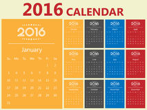 2016 Modern calendar template .Vector/illustration. Royalty Free Stock Photography
