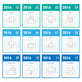 2016 Modern calendar template .Vector/illustration. 2016 Modern calendar template .Vector/illustration Stock Images