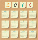 2016 Modern calendar template .Vector/illustration. Royalty Free Stock Images