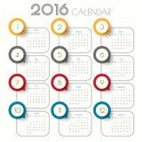 2016 Modern calendar template .Vector/illustration. Stock Photos