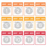 2017 Modern calendar template .Vector/illustration. 2017 Modern calendar template .Vector/illustration Royalty Free Stock Photography