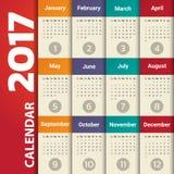 2017 Modern calendar template Stock Images