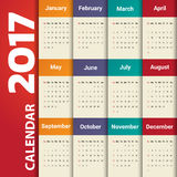 2017 Modern calendar template .Vector/illustration. Stock Photography