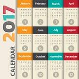 2017 Modern calendar template .Vector/illustration. Royalty Free Stock Image