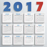 2017 Modern calendar template .Vector/illustration. Stock Photos