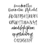 Decorative hand drawn alphabet. Handwritten brush font. Modern calligraphy ABC. Modern calligraphy alphabet. Handwritten brush letters. Uppercase, lowercase Vector Illustration