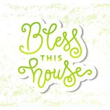 Modern calligraphy lettering of Bless this house in green in paper cut style on white green textured background. For decoration, postcard, poster, banner vector illustration