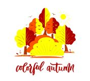 Hand lettering Colorful autumn. Nature autumnal vector concept. Modern calligraphy lettering Colorful autumn with decorative elements of shape of trees. Flat stock illustration
