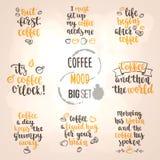 Modern calligraphy style coffee phrase big set. Royalty Free Stock Photos