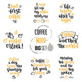 Modern calligraphy style coffee phrase big set. Stock Photography