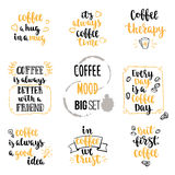 Modern calligraphy style coffee phrase big set. Stock Images