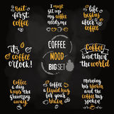 Modern calligraphy style coffee phrase big set. Stock Image