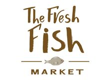 Modern calligraphy of text The fresh fish market with fish. Vector lettering of  text The fresh fish market. Modern calligraphy.Template of logotype of fish shop Royalty Free Stock Photos