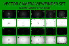Modern camera focusing screen with settings 20 in 1 pack - digital, mirorless, DSLR. White, black and green viewfinders camera recording. Vector illustration Stock Images